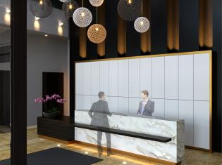 Triomphe, luxury double height lobby, condo refurbishment, North York